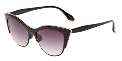 Angle of Laurel #6782 in Black/Silver Frame with Smoke Lenses, Women's Cat Eye Sunglasses