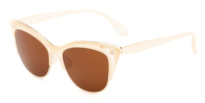 Angle of Laurel #6782 in Clear/Gold Frame with Amber Lenses, Women's Cat Eye Sunglasses