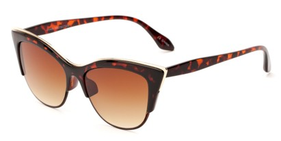 Angle of Laurel #6782 in Tortoise/Gold Frame with Amber Lenses, Women's Cat Eye Sunglasses