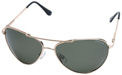 Angle of SW Polarized Aviator Style #2400 in Gold Frame with Green Lenses, Women's and Men's