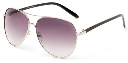 Angle of Sandford #9608 in Silver/Black Frame with Smoke Lenses, Women's and Men's Aviator Sunglasses