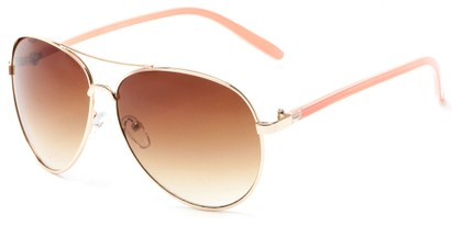 Angle of Sandford #9608 in Gold/Pink Frame with Amber Lenses, Women's and Men's Aviator Sunglasses