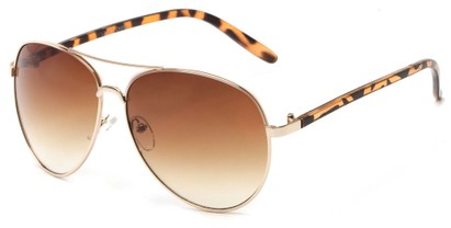 Angle of Sandford #9608 in Gold/Tortoise Frame with Amber Lenses, Women's and Men's Aviator Sunglasses