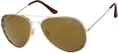 Angle of SW Floral Aviator Style #1940 in Gold Frame with Gold Mirrored Lenses, Women's and Men's