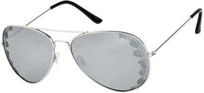 Angle of SW Floral Aviator Style #1940 in Silver Frame with Silver Mirrored Lenses, Women's and Men's