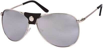 Angle of SW Retro Mirrored Aviator Style #2006 in Silver/Black Frame with Smoke Lenses, Women's and Men's