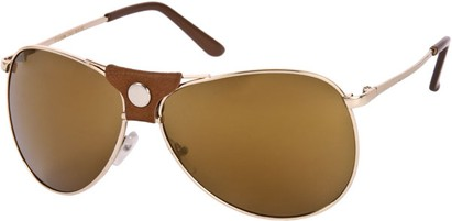 Angle of SW Retro Mirrored Aviator Style #2006 in Gold/Brown Frame with Amber Lenses, Women's and Men's