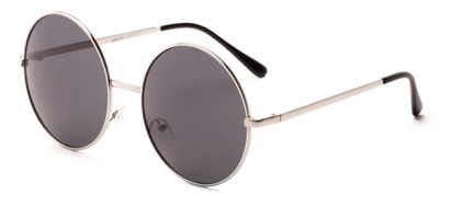 Angle of Rainier #244 in Silver Frame with Grey Lenses, Women's and Men's Round Sunglasses
