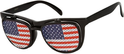 Angle of SW American Flag Flip-Up Style #815 in Black Frame, Women's and Men's