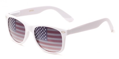 Angle of Liberty #811 in White Frame, Women's and Men's Retro Square Sunglasses