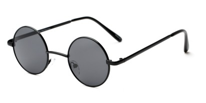 Angle of London #1707 in Black Frame with Grey Lenses, Women's and Men's Round Sunglasses