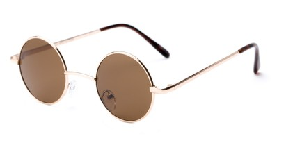 Angle of London #1707 in Gold/Brown Frame with Amber Lenses, Women's and Men's Round Sunglasses