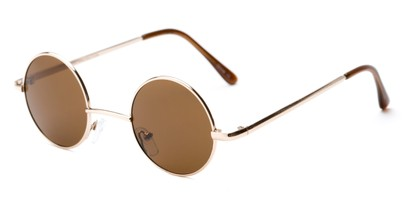 Angle of London #1707 in Gold/Tortoise Frame with Amber Lenses, Women's and Men's Round Sunglasses