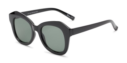 Angle of Lydia #5166 in Black Frame with Green Lenses, Women's Cat Eye Sunglasses