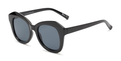 Angle of Lydia #5166 in Black Frame with Grey Lenses, Women's Cat Eye Sunglasses