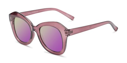 Angle of Lydia #5166 in Purple Frame with Purple Mirrored Lenses, Women's Cat Eye Sunglasses
