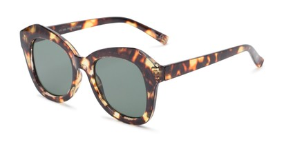 Angle of Lydia #5166 in Tortoise Frame with Green Lenses, Women's Cat Eye Sunglasses