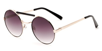 Angle of Portola #1425 in Black/Gold Frame with Smoke Lenses, Women's Round Sunglasses