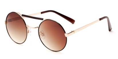 Angle of Portola #1425 in Brown/Gold Frame with Amber Lenses, Women's Round Sunglasses