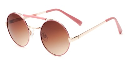 Angle of Portola #1425 in Pink/Gold Frame with Amber Lenses, Women's Round Sunglasses