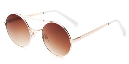 Angle of Portola #1425 in White/Gold Frame with Amber Lenses, Women's Round Sunglasses