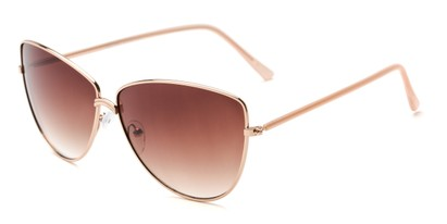 Angle of Dreamer #0510 in Gold Frame with Amber Lenses, Women's Cat Eye Sunglasses