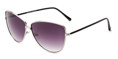 Angle of Dreamer #0510 in Silver Frame with Smoke Lenses, Women's Cat Eye Sunglasses