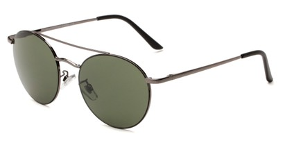 Angle of Fitzroy #1429 in Grey Frame with Green Lenses, Women's and Men's Aviator Sunglasses