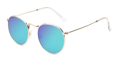 Angle of Filbert #1456 in Gold Frame with Blue Mirrored Lenses, Women's and Men's Round Sunglasses