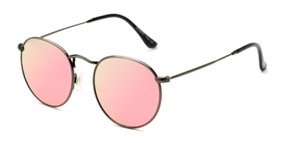 Angle of Filbert #1456 in Dark Gold Frame with Pink Mirrored Lenses, Women's and Men's Round Sunglasses
