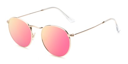 Angle of Filbert #1456 in Gold Frame with Pink/Yellow Mirrored Lenses, Women's and Men's Round Sunglasses
