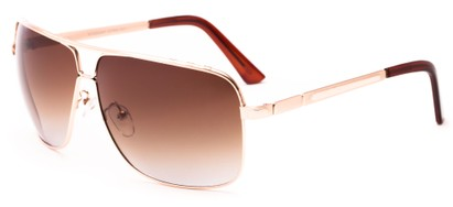 Angle of Mojave #1524 in Matte Gold Frame with Gradient Amber Lenses, Men's Aviator Sunglasses