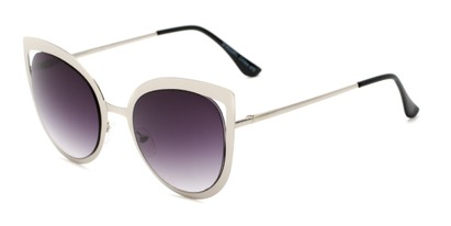 Angle of Blaine #16029 in Silver Frame with Smoke Lenses, Women's Cat Eye Sunglasses