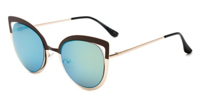 Angle of Blaine #16029 in Brown/Gold Frame with Blue Mirrored Lenses, Women's Cat Eye Sunglasses