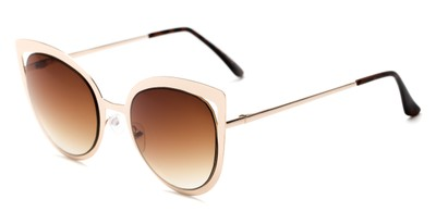 Angle of Blaine #16029 in Gold Frame with Amber Lenses, Women's Cat Eye Sunglasses