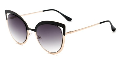 Angle of Blaine #16029 in Black/Gold Frame with Smoke Lenses, Women's Cat Eye Sunglasses