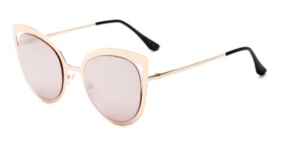 Angle of Blaine #16029 in Gold Frame with Pink Mirrored Lenses, Women's Cat Eye Sunglasses