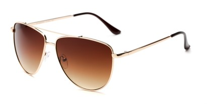 Angle of Belmont #16083 in Gold Frame with Amber Lenses, Women's Aviator Sunglasses