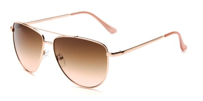 Angle of Belmont #16083 in Rose Gold Frame with Pink Smoke Lenses, Women's Aviator Sunglasses