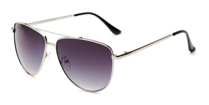 Angle of Belmont #16083 in Silver Frame with Smoke Lenses, Women's Aviator Sunglasses