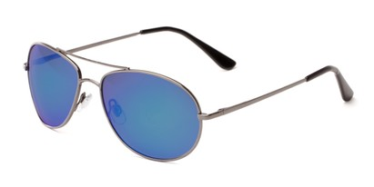 Angle of Brisbane #1794 in Grey Frame with Blue/Purple Mirrored Lenses, Women's and Men's Aviator Sunglasses