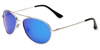 Angle of Brisbane #1794 in Silver Frame with Blue Mirrored Lenses, Women's and Men's Aviator Sunglasses