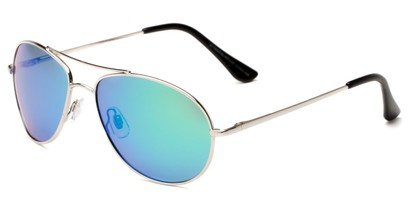 Angle of Brisbane #1794 in Silver Frame with Blue/Green Mirrored Lenses, Women's and Men's Aviator Sunglasses