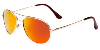 Angle of Brisbane #1794 in Gold Frame with Red/Orange Mirrored Lenses, Women's and Men's Aviator Sunglasses
