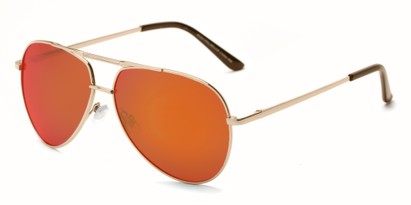 Angle of Cosmo #2261 in Gold Frame with Orange Lenses, Women's and Men's Aviator Sunglasses