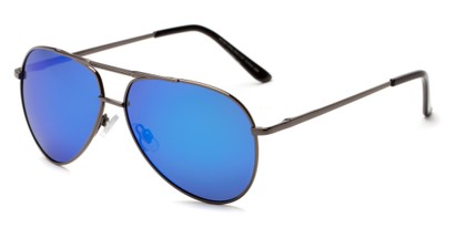 Angle of Cosmo #2261 in Grey Frame with Blue Lenses, Women's and Men's Aviator Sunglasses