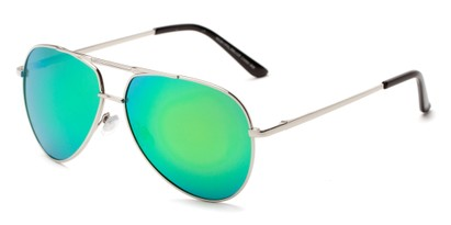 Angle of Cosmo #2261 in Silver Frame with Green Lenses, Women's and Men's Aviator Sunglasses