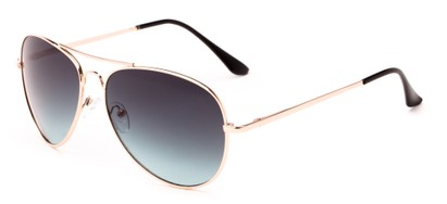 Angle of Sail #2301 in Gold/Black Frame with Blue Lenses, Women's and Men's Aviator Sunglasses
