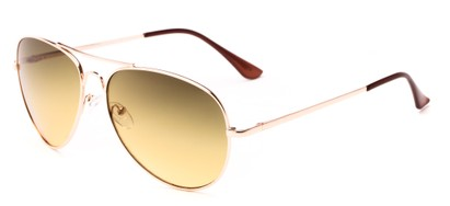 Angle of Sail #2301 in Gold/Brown Frame with Green Lenses, Women's and Men's Aviator Sunglasses