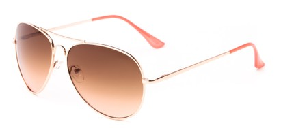 Angle of Sail #2301 in Gold/Pink Frame with Amber Lenses, Women's and Men's Aviator Sunglasses